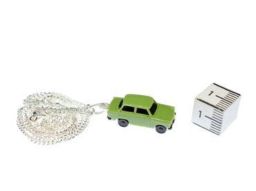 Trabi Necklace Trabant DDR Vintage Retro Car Silver Plated Miniblings Green – Bild 2