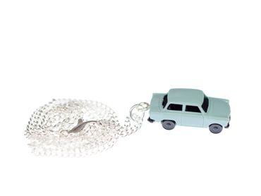 Trabi Kette Halskette 45 cm Miniblings Miniatur Auto Trabant Fahrzeug Pkw blau – Bild 1
