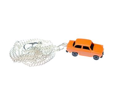 Trabi Kette Halskette 45 cm Miniblings Miniatur Auto Trabant Fahrzeug Pkw orange – Bild 1