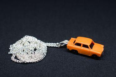 Trabi Kette Halskette 45 cm Miniblings Miniatur Auto Trabant Fahrzeug Pkw orange – Bild 3
