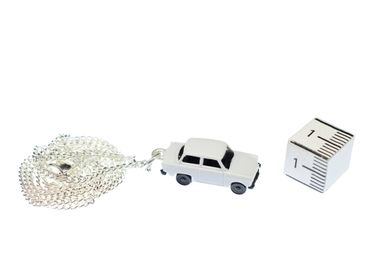 Trabi Necklace Trabant DDR Vintage Retro Car Silver Plated Miniblings White – Bild 4