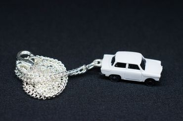 Trabi Necklace Trabant DDR Vintage Retro Car Silver Plated Miniblings White – Bild 3