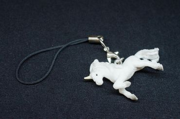 Unicorn Mobile Phone Charm Pendant Miniblings Fairy Tale Myth Fantasy White  – Bild 4
