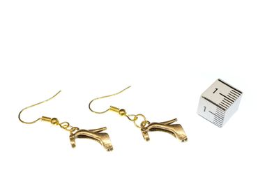 Golden Pumps Earrings Miniblings Shoes Shoe Straps High Heels Fashion Gold – Bild 2
