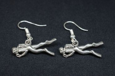Diver Earrings Miniblings Wetsuit Diving Equipment Silver Plated – Bild 2