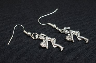 Volleyball Player Girl Earrings Beach Volleyball Miniblings Silver Plated – Bild 3