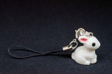 Hase Häschen Kaninchen Handyanhänger Miniblings Osterhase weiß rosa Ohren – Bild 4