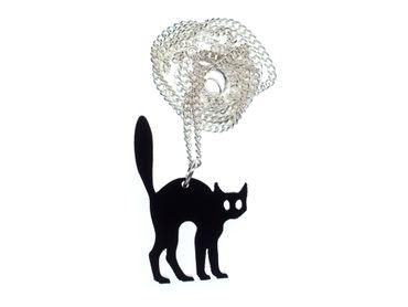 Katze Kette Halskette Miniblings 45cm Haustier Acrylglas Halloween Katzenbuckel – Bild 1