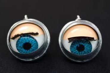 Eye Earrings Miniblings Halloween Eyes Puppet Moving Creepy Doll Eyes – Bild 3
