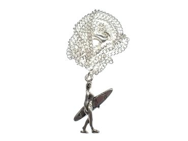 Surfer Girl Necklace Miniblings 45cm Sports Silver Plated Surfing Surfboard – Bild 1