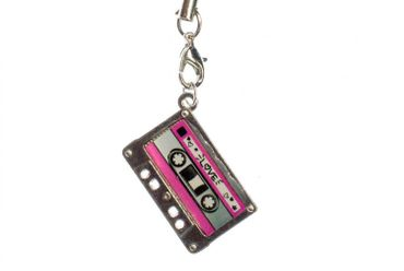 Audio Cassette Tape Mobile Phone Charm Cellphone Pendant Miniblings Music Pink – Bild 1