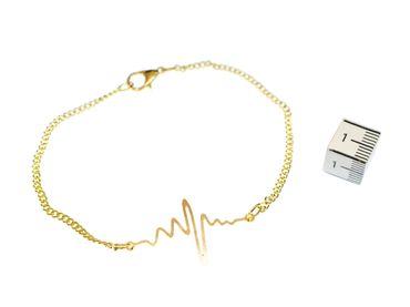 EKG Herzschlag Kurve Armband Miniblings Armschmuck Elektrokardiogramm golden – Bild 2