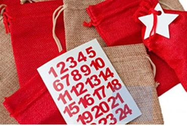 Miniblings DIY Advent Calender Set 25 Jute Bags Numbers Stars and Band - German Germany Adventskalender – Bild 1