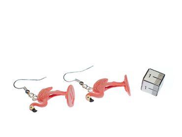 Flamingo Earrings Miniblings Pink 25 mm Water Bird  Birds Animal Animals – Bild 2