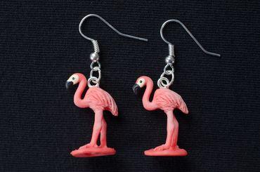 Flamingo Earrings Miniblings Pink 25 mm Water Bird  Birds Animal Animals – Bild 3