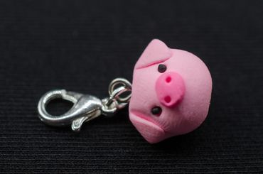 Piglet Charm Miniblings Pendant Pink Luck Baby Pig Animal New Year Piggy Runt – Bild 3