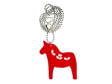 Dala Horse Necklace Miniblings Flowers LC Animal Lasercut Red 80cm Pony Acrylic – Bild 1
