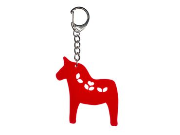 Dala Horse Key Ring Miniblings Keychain Laser Cut Acrylic Red 60mm Flowers – Bild 1