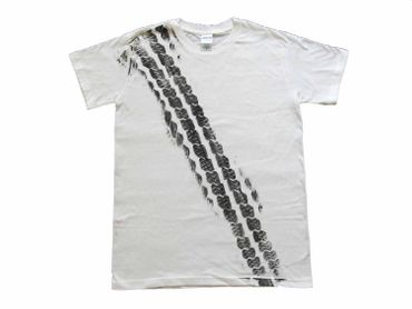 Tire Mark Tire Track T-Shirt Tshirt Road Print Men Brakes Braking Tire Car White – Bild 1