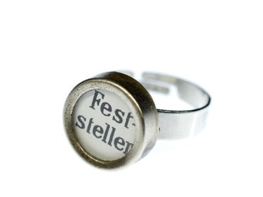 Lock Button Ring Typewriter Keys Miniblings Vintage White Upcycling Retro – Bild 1
