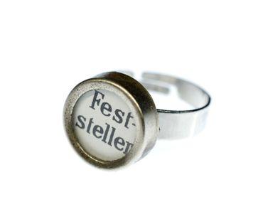 Ring Feststeller Schreibmaschinentaste Miniblings Vintage Upcycling weiß – Bild 1