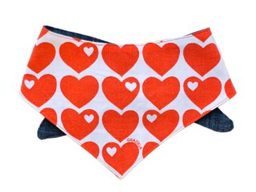Children Neckerchief Kalle Fux Handmade Cloth 1.5 - 3 Years Heart Heart Jeans – Bild 2