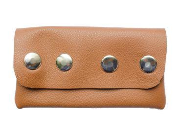 Leather Bag Miniblings Pencil Case Makeup Case Handmade Wallet Brown Press Button – Bild 3