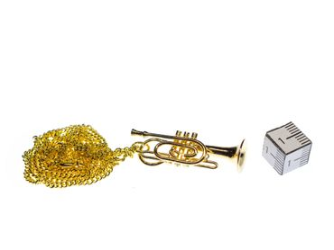 Cornet Necklace Miniblings Wind Instrument Orchestra Gold Plated 60cm + Box – Bild 2