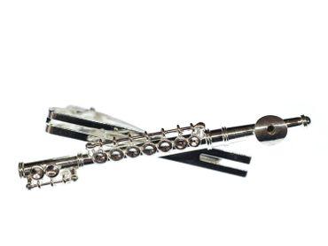 Querflöte Krawattennadel Krawattenhalter + Box Miniblings Flötist Musik silber – Bild 1