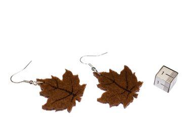 Maple Leaf Earrings Miniblings Christmas Felt 31mm Maple Leafs Brown – Bild 2