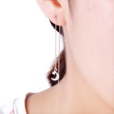 Moon Star NecklaceEarrings Miniblings Snow NecklaceEarrings Long Silver Planet Universe – Bild 1