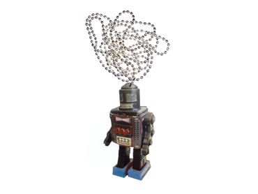 Robot Necklace Miniblings 80cm Wood Laser Cut Future Android Wooden – Bild 1