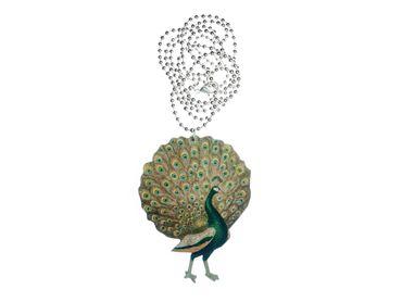 Blauer Pfau Halskette Kette Miniblings Holz Laser Cut 80cm LC bunt Vogel hölzern – Bild 1