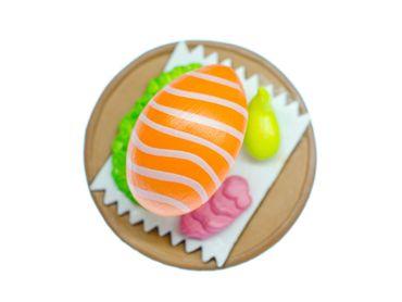 Sushiteller Brosche Miniblings Japan Sushiplatte Sushi Fisch Teller rund braun – Bild 1