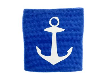 Sweatband Wristband Wrist Warmer Zipper Pull White Anchor Blue Background – Bild 1
