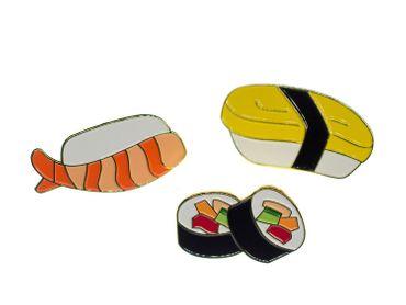 3x Sushi Set Broschen Miniblings Japanische Spezialität Fisch Maki Metall – Bild 4