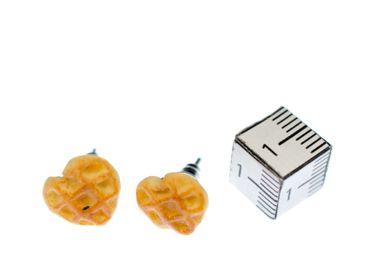 Waffle Heart Earrings Ear Studs Earstuds Miniblings Wafflehearts Hearts Love – Bild 2