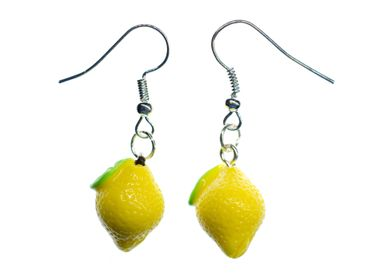 Lemon Earrings Miniblings 17mm Yellow Citron 3D Lemons Fruit Fruits Food – Bild 1