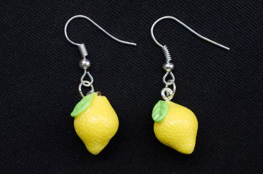 Lemon Earrings Miniblings 17mm Yellow Citron 3D Lemons Fruit Fruits Food – Bild 3