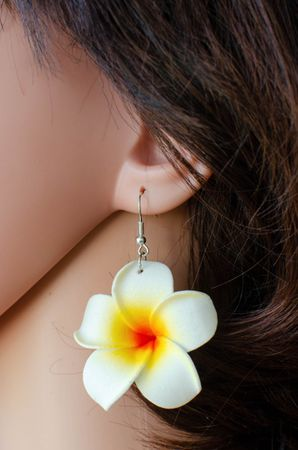 Frangipani Earrings Miniblings Flower Flowers Blossom Lily 50mm Hawai Plumeria – Bild 2