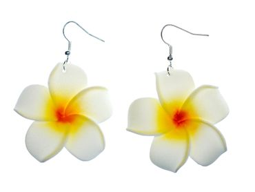 Lily Earrings Miniblings Flower Flowers Blossom Leather 50mm White Bloom – Bild 1