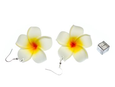 Lily Earrings Miniblings Flower Flowers Blossom Leather 50mm White Bloom – Bild 2