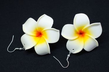 Lily Earrings Miniblings Flower Flowers Blossom Leather 50mm White Bloom – Bild 3