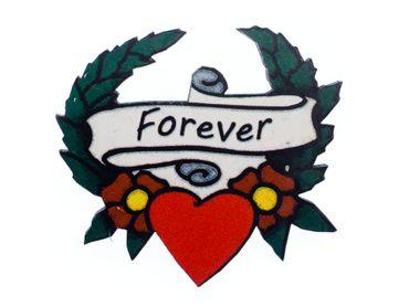 Heart Tattoo Brooch Miniblings Wood Laser Cut Forever LC Romantic 43mm Love – Bild 1