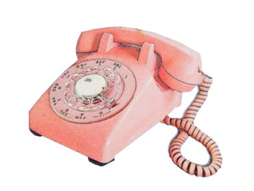 Retro Telephone Brooch Miniblings Wood Laser Cut LC 60mm Pin Phone Vintage – Bild 1
