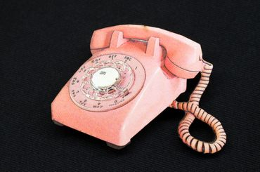 Retro Telephone Brooch Miniblings Wood Laser Cut LC 60mm Pin Phone Vintage – Bild 3