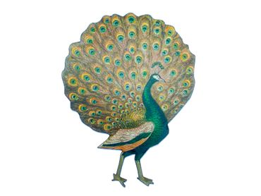 Peacock Brooch Miniblings Wood Laser Cut Peafowl LC 70mm Animal Animals Pin – Bild 1