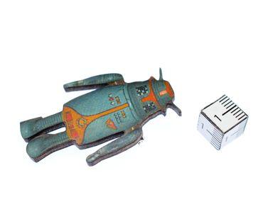 Roboter Brosche Miniblings Anstecknadel Android Antennen Holz Lasercut 42mm – Bild 2
