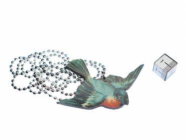 Rotkehlchen Halskette Miniblings Kette hölzern Vogel Holz Laser Cut LC blau – Bild 2