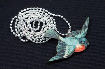 Rotkehlchen Halskette Miniblings Kette hölzern Vogel Holz Laser Cut LC blau – Bild 3